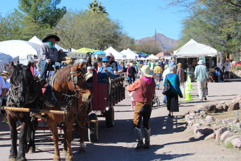 Horse-drawn wagon at Tubac Festival of the Arts