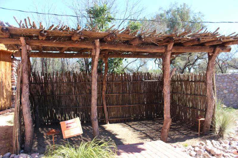Ramada shelter of saguaro ribs and Ocotillo branches