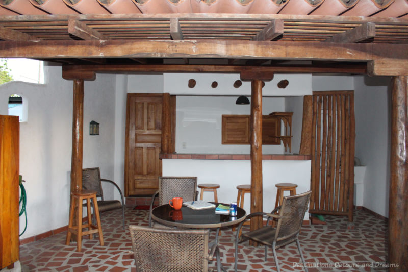 Tiled, covered patio area of a Panamanian house