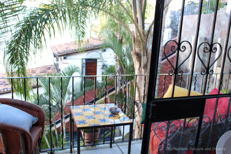 Balcony with tiled table in Puerto Vallarta, Mexico Airbnb
