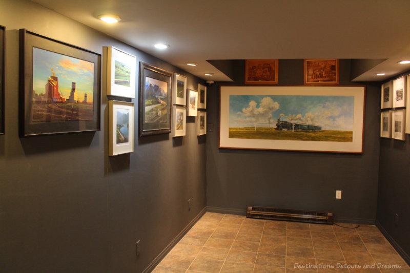 Railway art at the George Hunter Art Gallery in the Winnipeg Railway Museum