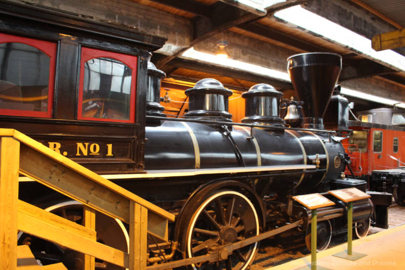 Late 1800s steam locomotive, Countess of Dufferin, on display at the Winnipeg Railway Museum