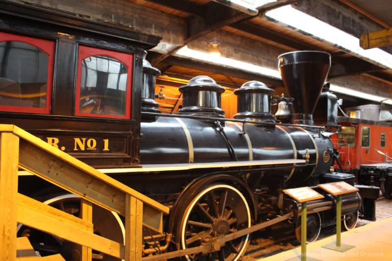 Late 1800s steam locomotive, Countess of Dufferin, on display at the Winnipeg Railway Museum