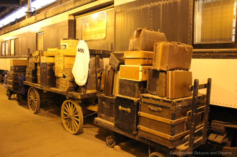 Truck and luggage on carts at the Winnipeg Railway Museum