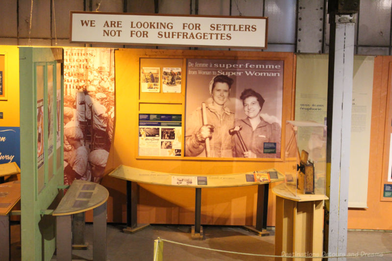 Historical anti-suffragette display at the Winnipeg Railway Museum