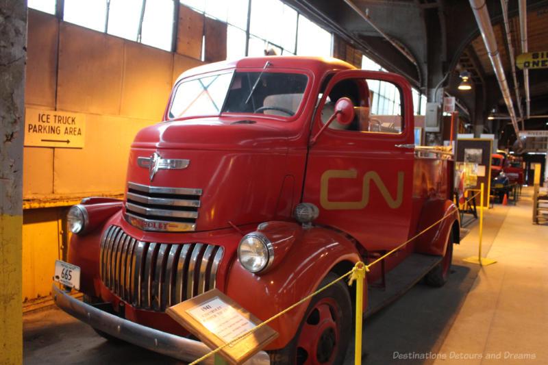 Red 1941 CN Pumper Truck on display at Winnipeg Railway Museum