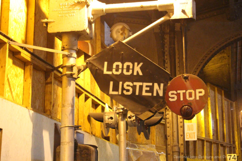 Look Listen Stop railway sign on display at the Winnipeg Railway Museum