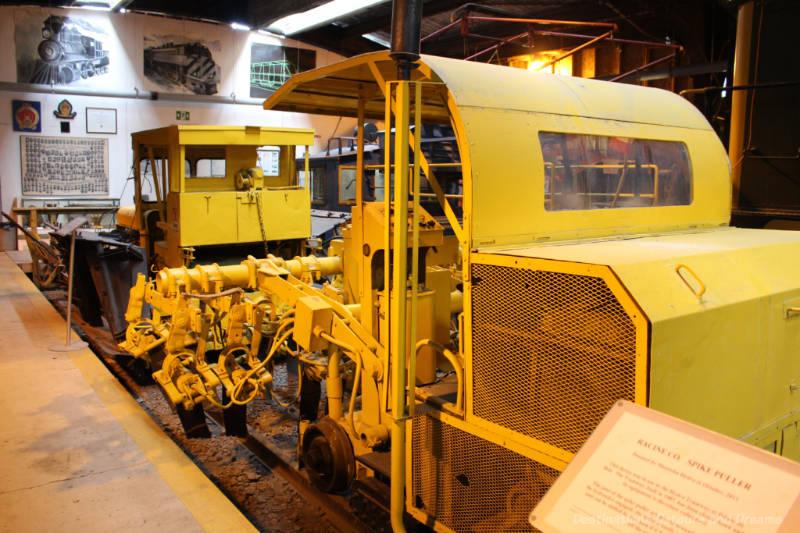 Yellow Spike Puller on display at Winnipeg Railway Museum