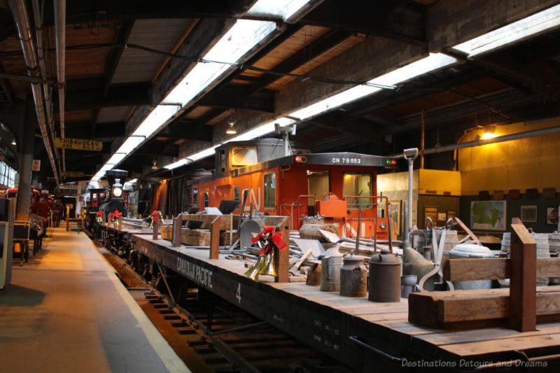 Rail Cars on railway tracks at the Winnipeg Railway Museum
