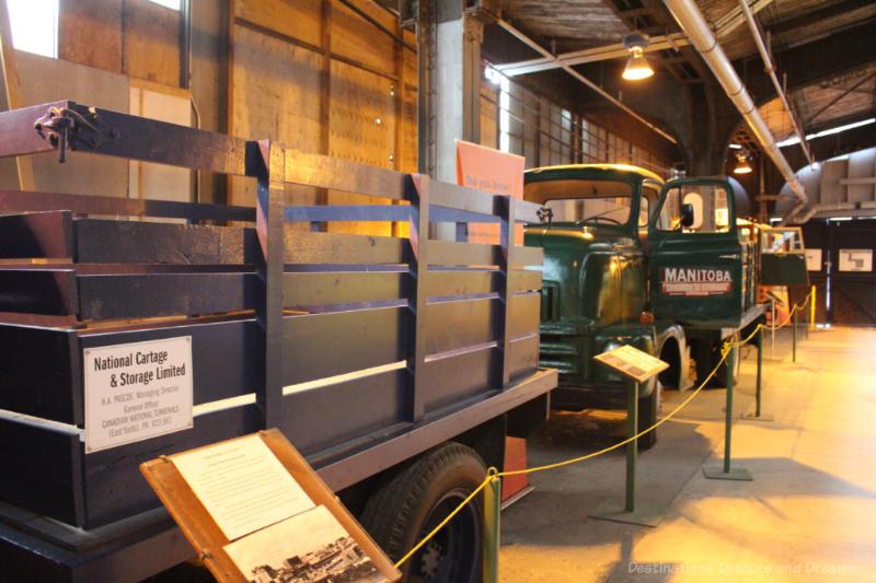 Trucks on display at the Winnipeg Railway Museum