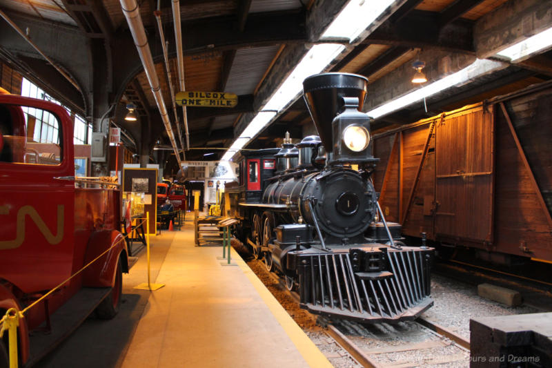 Locomotive and other rail cars on display at the Winnipeg Railway Museum