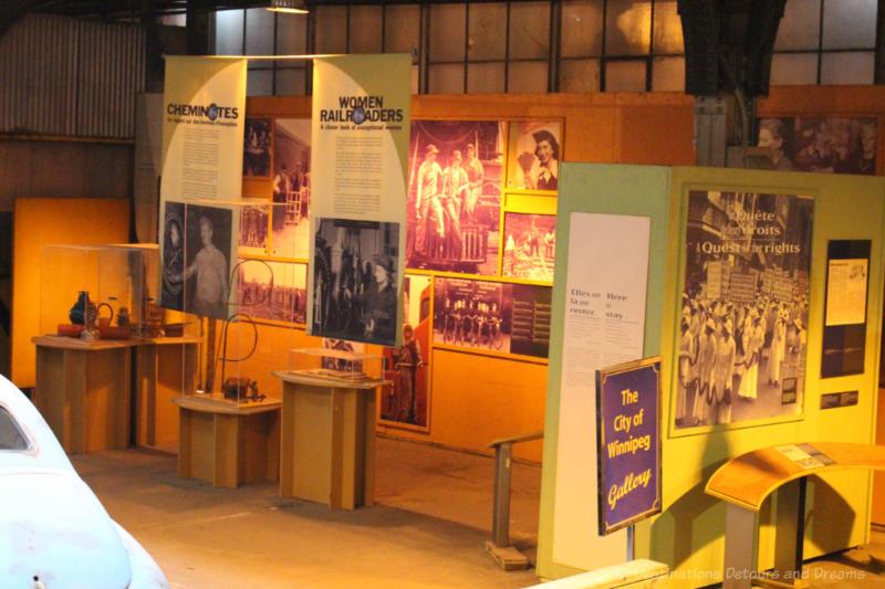 Display about women railroaders at the Winnipeg Railway Museum