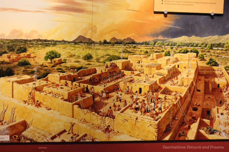 Drawing depicting an ancient Hohokam settlement