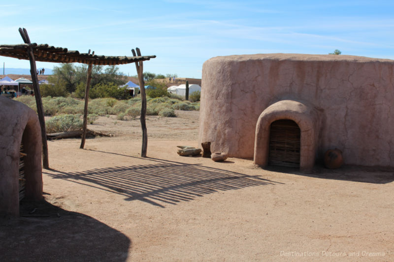 Round building with earthen shell built as a replica of an ancient Hohokam pithouse