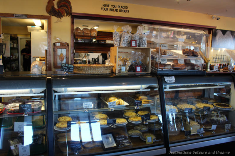 Bakery shelf at The Roost on Vancouver Island