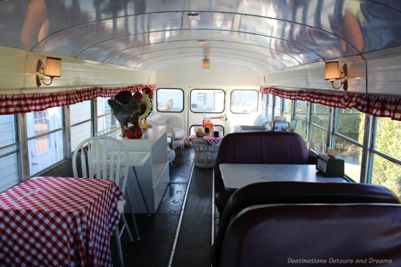 Interior of bus set up as tea room and diner