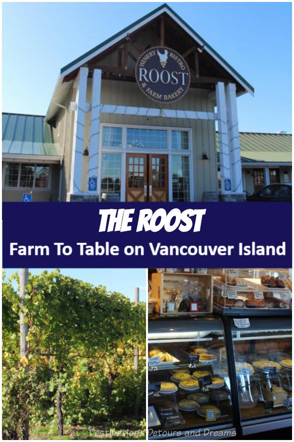 The Roost Farm To Table on Vancouver Island Wine tasting and a farm tour at the Roost Winery Bistro & Farm Bakery in North Saanich, British Columbia. #winery #BritishColumbia #VancouverIsland #Victoria #Canada