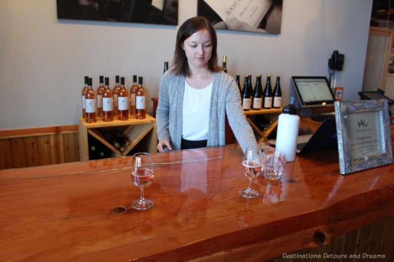Wine tasting bar at the Roost on Vancouver Island