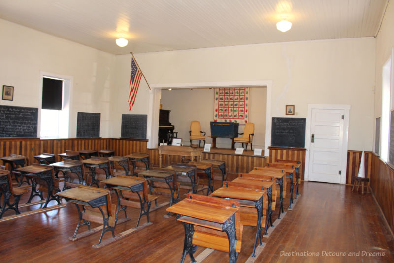 Old desks inside a one-room schoolhouse