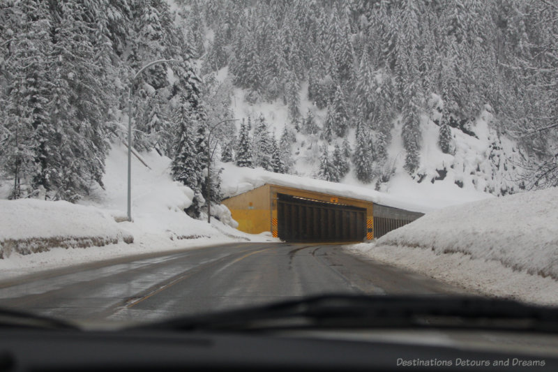 Tunnel on a mountain highway in winter