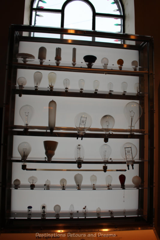 Display of different types of light bulbs used over the years