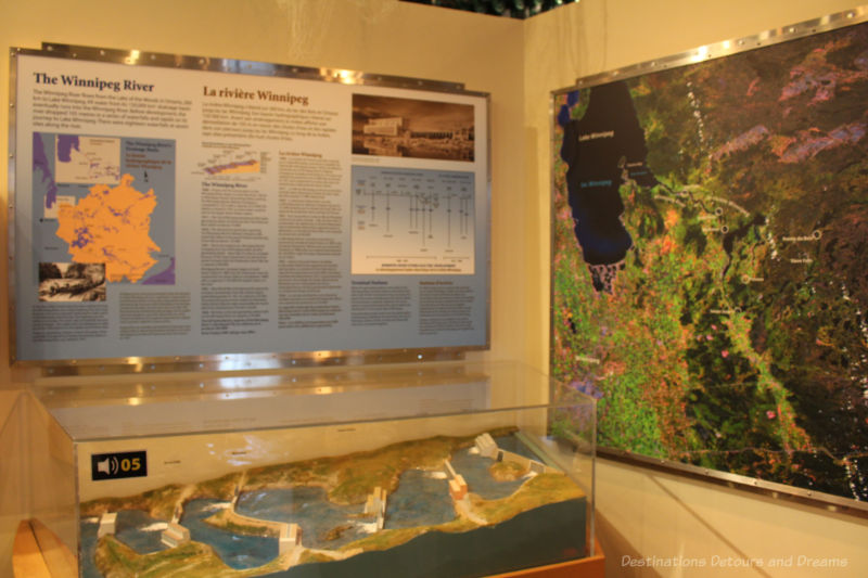 Diorama and panel board at Manitoba Electrical Museum showing the six generating stations along the Winnipeg River