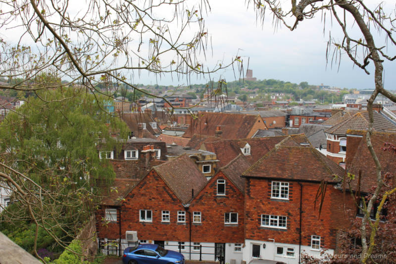 View over Guildford off red brick houses