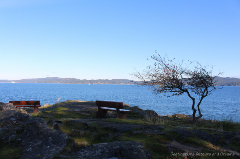 View over Swanson Channel from the tip of Ruckle Park on Salt Spring Island