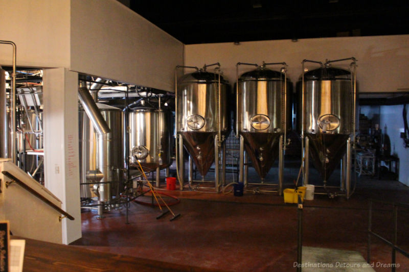 Stainless steel beer brewing vats