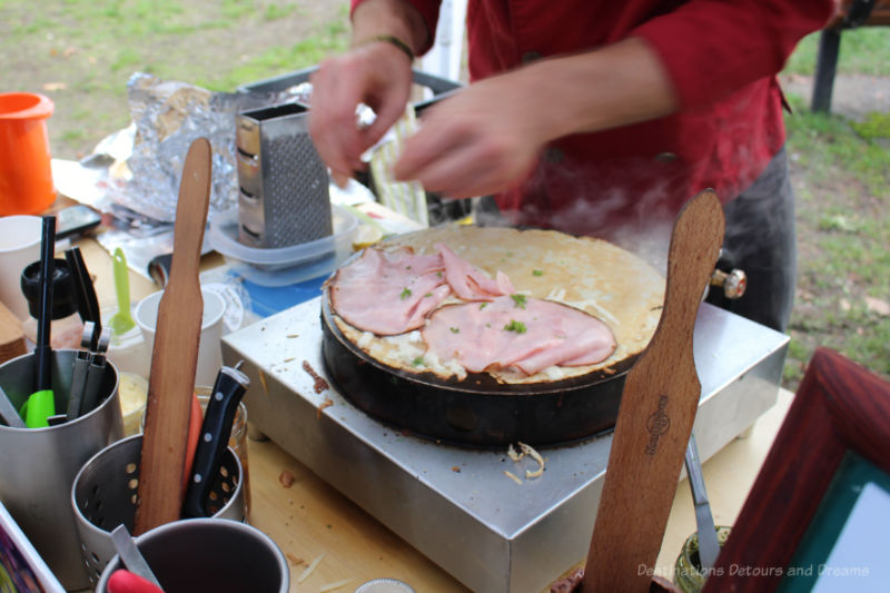 Crepe cooking on grill at Salt Spring Island Market