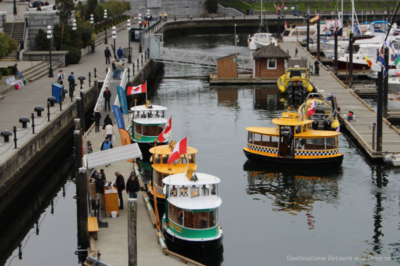 Yellow and green pickle-shaped boats of Victoria Harbour Ferry moored at marina