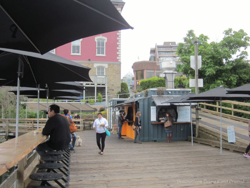 An up-cycled cargo container houses a takeaway fish n chip shop along the Victoria waterfront