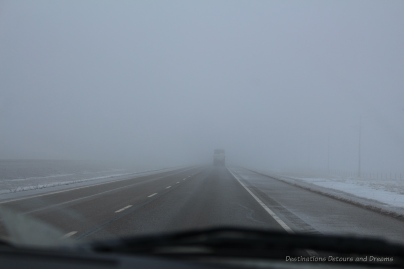 Highway obscured by fog