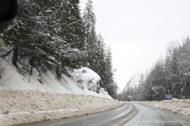 Snowy curving mountain highway