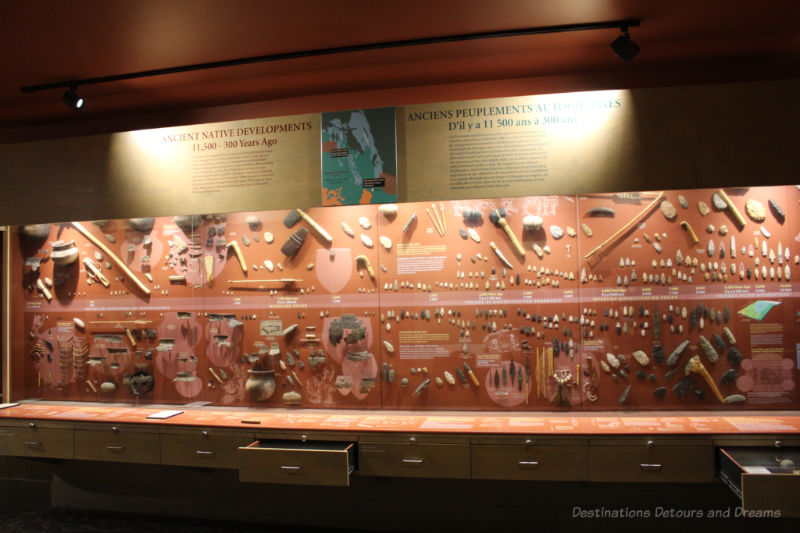 Collection of ancient tools at the Manitoba Museum