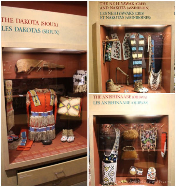 Displays showing Sious, Cree, and Ojibwa artifacts at Manitoba Museum