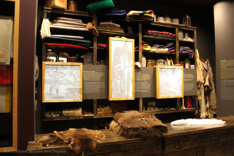 Display of furs and blankets for trade in Hudson's Bay Gallery at Manitoba Museum