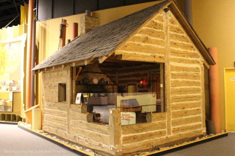 Log house on display in museum