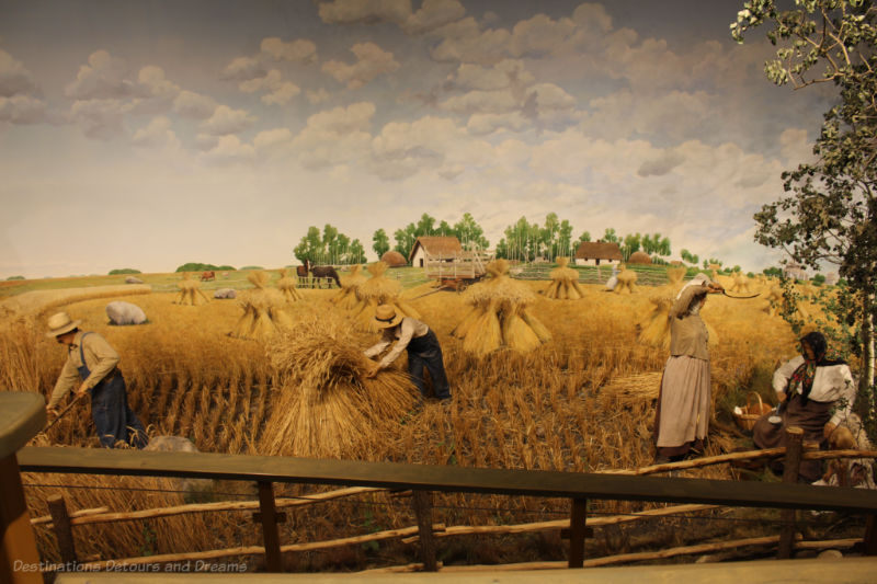 Museum panorama recreating a scene of Ukrainian settlers working in a rye field