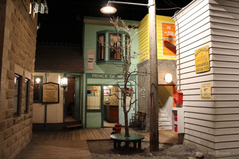 Street scene with shops in recreated 1920s Winnipeg at Manitoba Museum