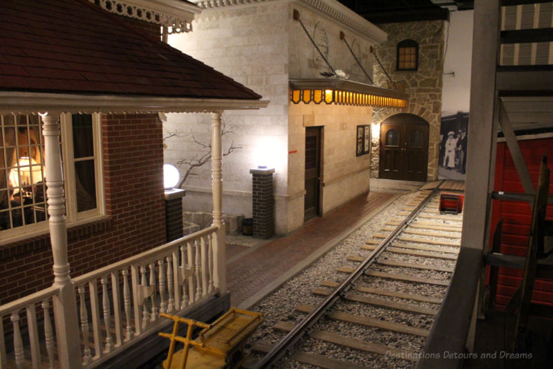 Railway tracks and buildings recreating 1920s Winnipeg at the Manitoba Museum