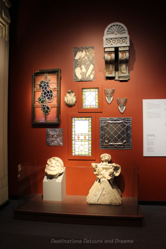 A collection of architectural details showing Winnipeg history at Manitoba Museum