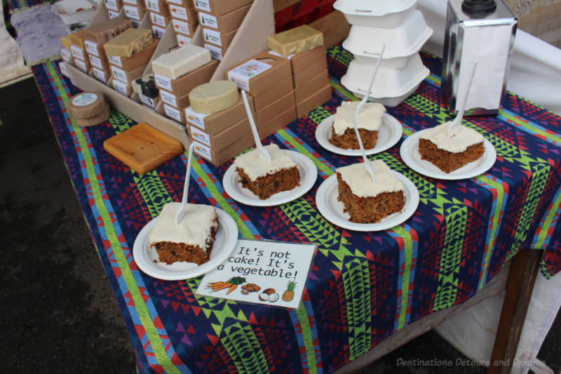 Carrot cake pieces for sale at Salt Spring Island Saturday Market