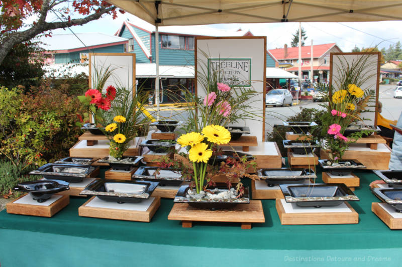 Pottery flower holders at Salt Spring Island Saturday Market