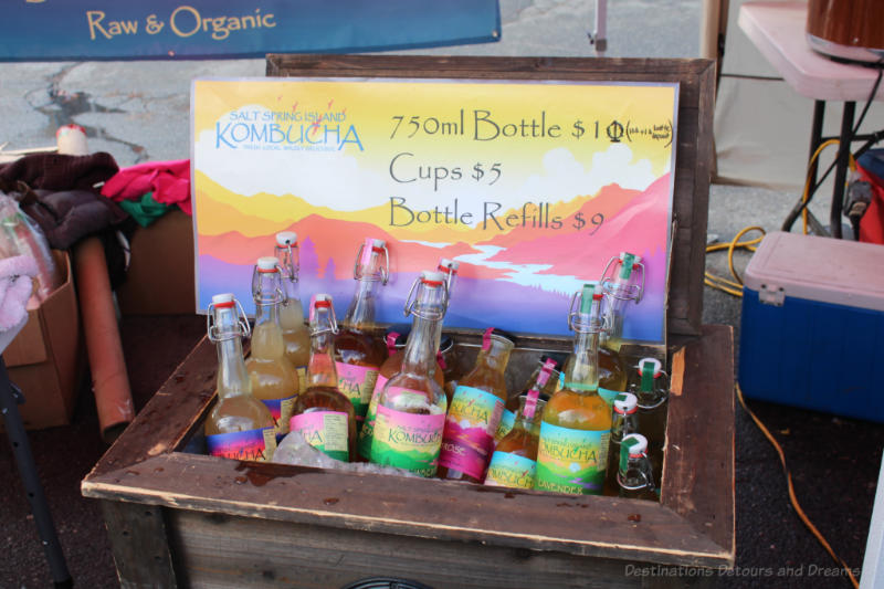 A cooler of Salt Spring Island Kombucha