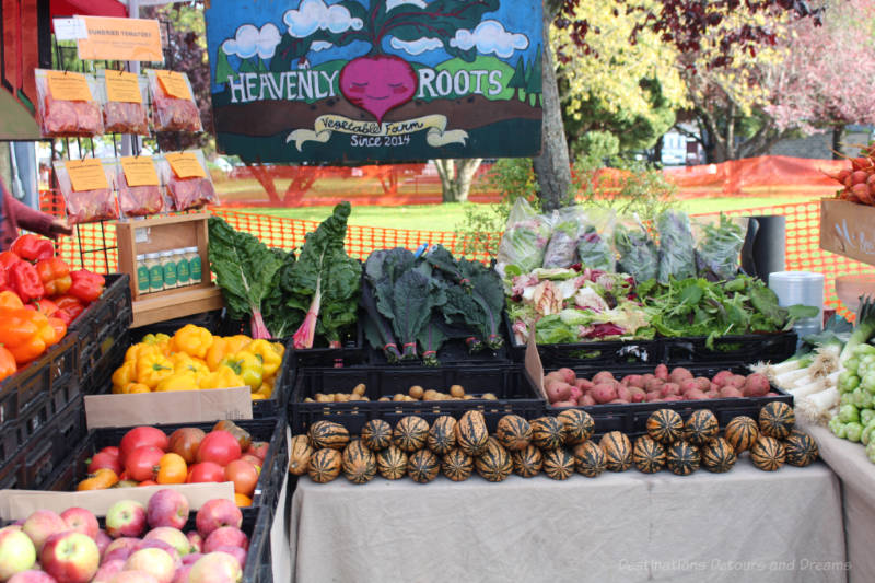 Root vegetables on display at Salt Spring Island Saturday Market