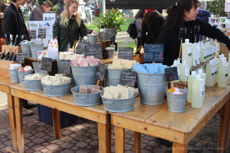 Table of products from Saltspring Soapworks at Salt Spring Island Saturday Market