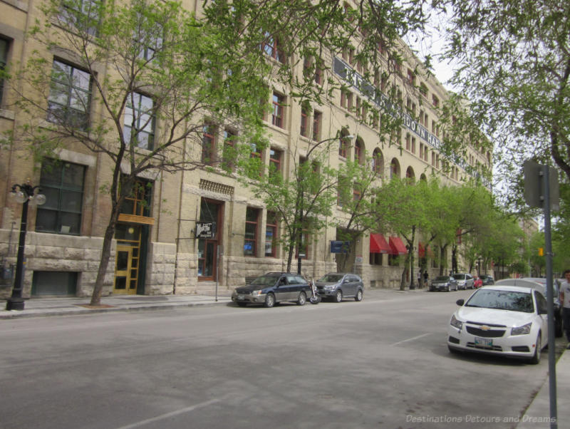 Street in Winnipeg Exchange District lined with heritage buildings
