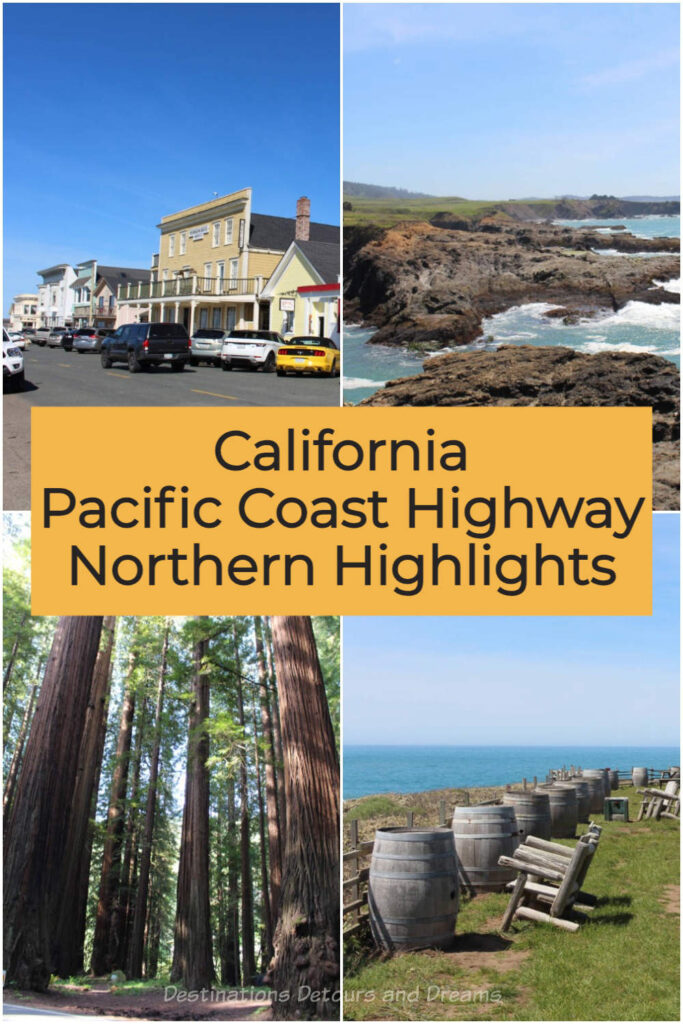 California Pacific Coast Highway Northern Highlights. Sights to see along California's scenic coastal drive include Mendocino Village, Mendocino Coast Botanical Gardens, Glass Beach, MacKerricher State Park, Pacific Star Winery and Avenue of the Giants #California #PacificCoastHighway #scenicdrive