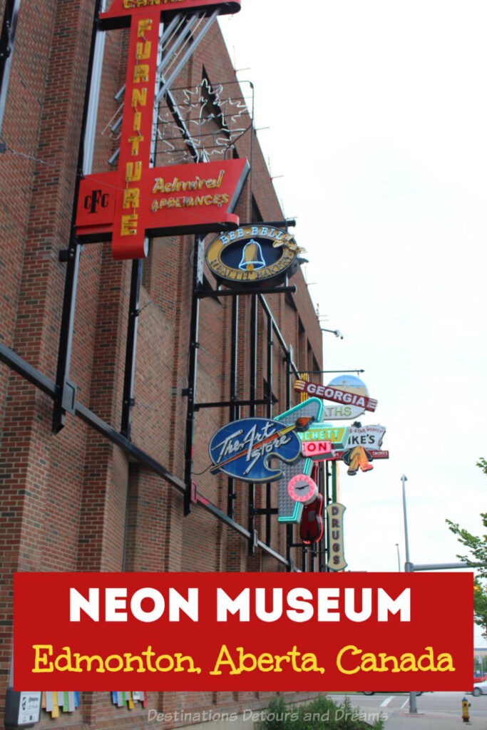 Neon Museum in Edmonton, Alberta, Canada - an outdoor  collection of neon signs showcasing city history is one of the things to do in downtown Edmonton #Edmonton #Alberta #Canada #museum #neon